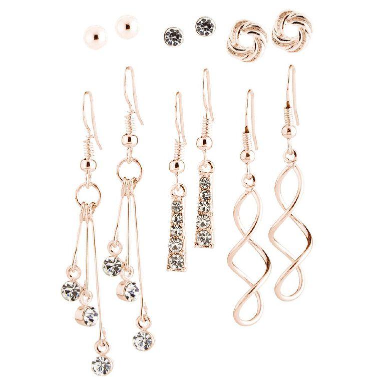 Diamante Ball Swirl Earrings, Rose Gold, hi-res