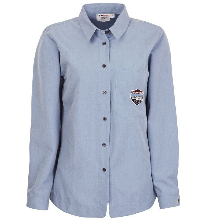 Schooltex Darfield High Girls' Long Sleeve Shirt with Embroidery, Chambray, hi-res