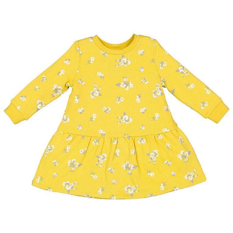 Young Original Toddler Sweatshirt Dress, Yellow Mid, hi-res