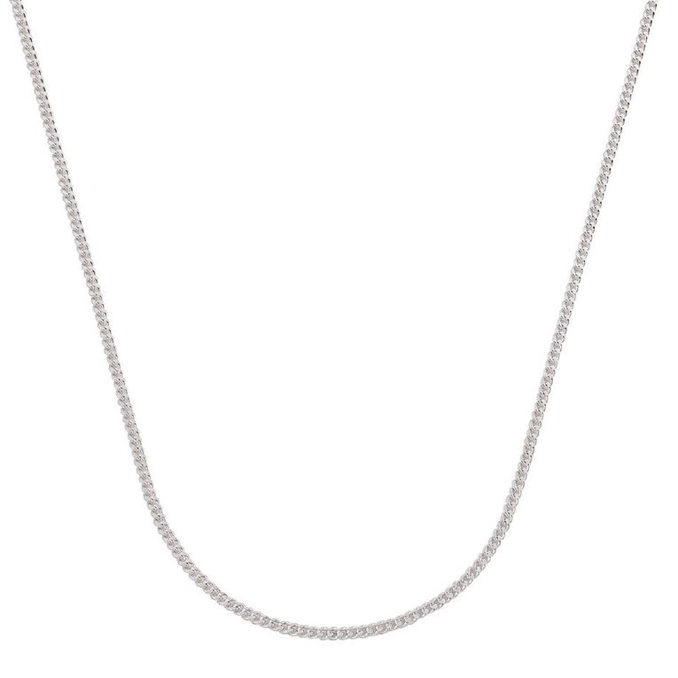 Sterling Silver Diamond Cut 60 Gauge Curb Chain 50cm, , hi-res