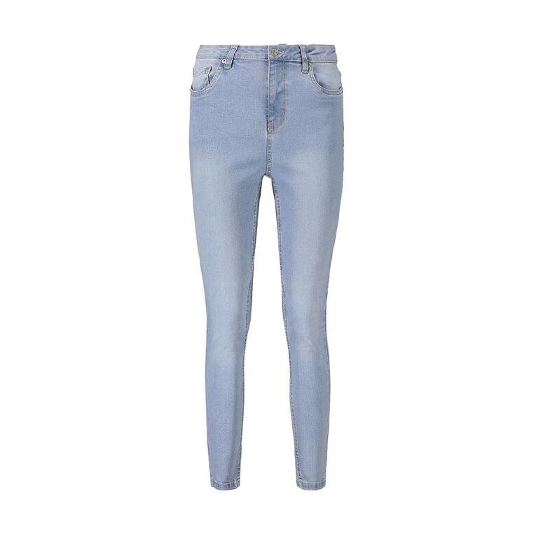 H&H Women's Mid Rise Skinny Jeans, Denim Light, hi-res