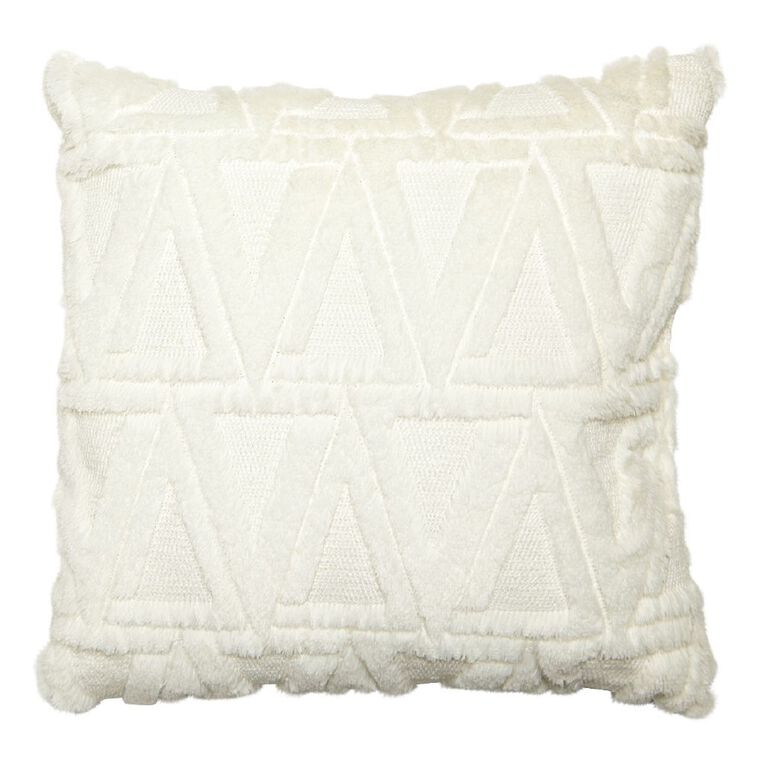 Living & Co Carved Fleece Cushion Optic White 40cm x 40cm, White, hi-res image number null