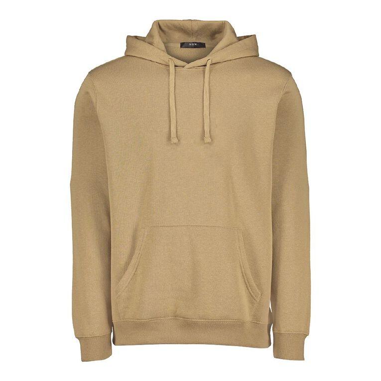 H&H Men's Plain Hooded Sweatshirt, Tan, hi-res