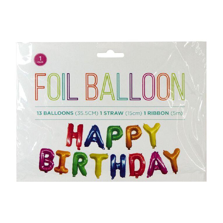 Foil Balloon Banner Happy Birthday 35.5cm Multi-Coloured, , hi-res