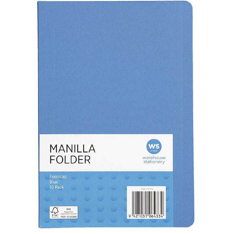 WS Manilla Folders Foolscap 10 Pack Blue, , hi-res