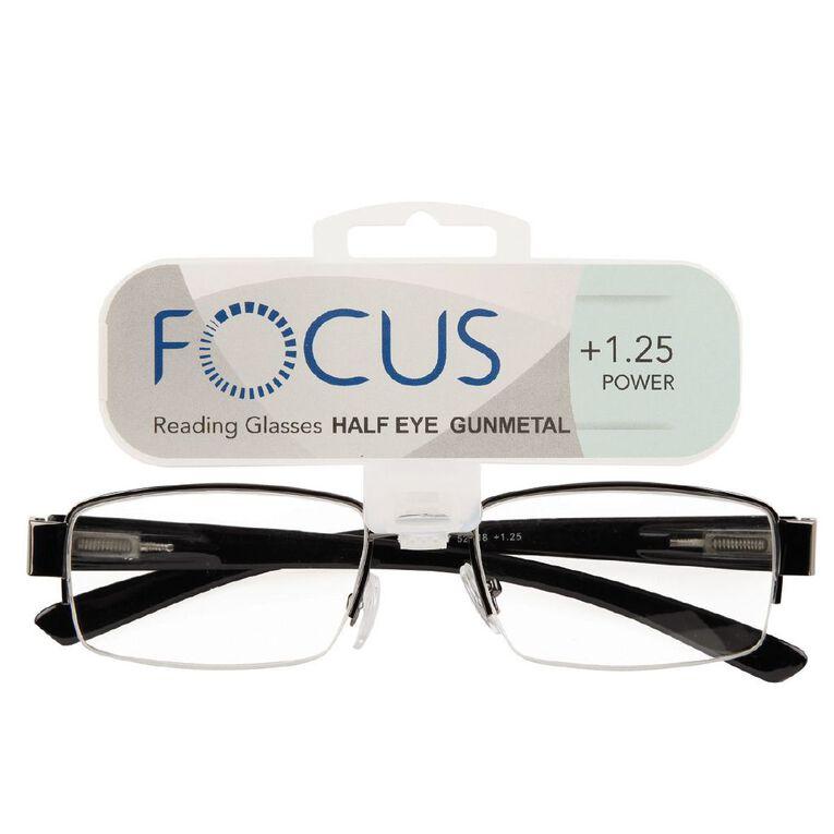 Focus Reading Glasses Half Eye Gunmetal 1.25, , hi-res