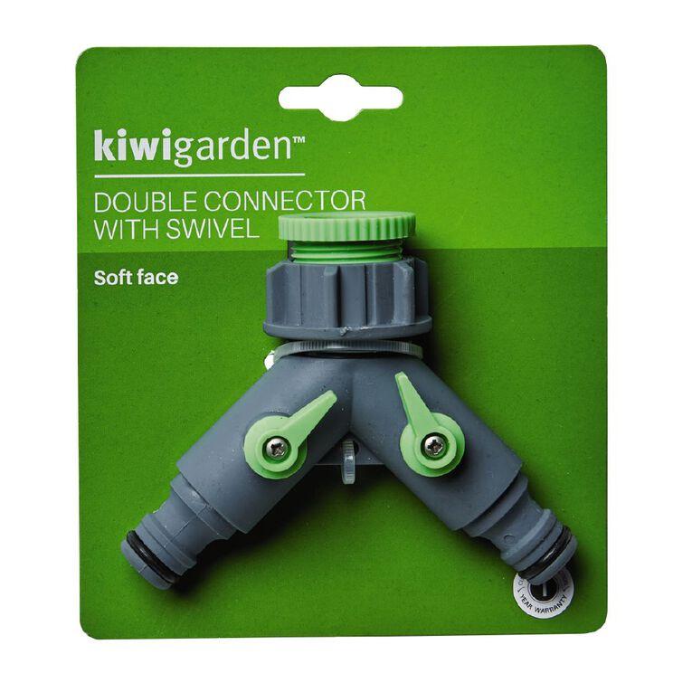 Kiwi Garden Double Connector with Swivel Grey, , hi-res