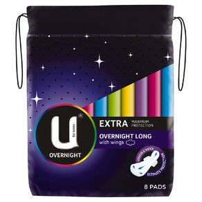 U By Kotex Maxi Pad Overnight Long with Wings 8s