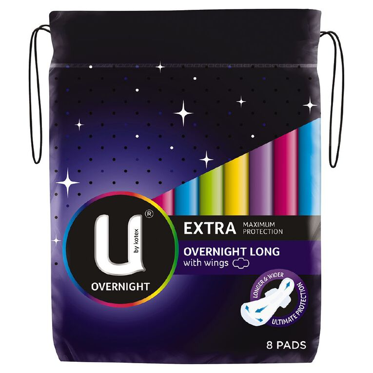 U By Kotex Maxi Pad Overnight Long with Wings 8s, , hi-res