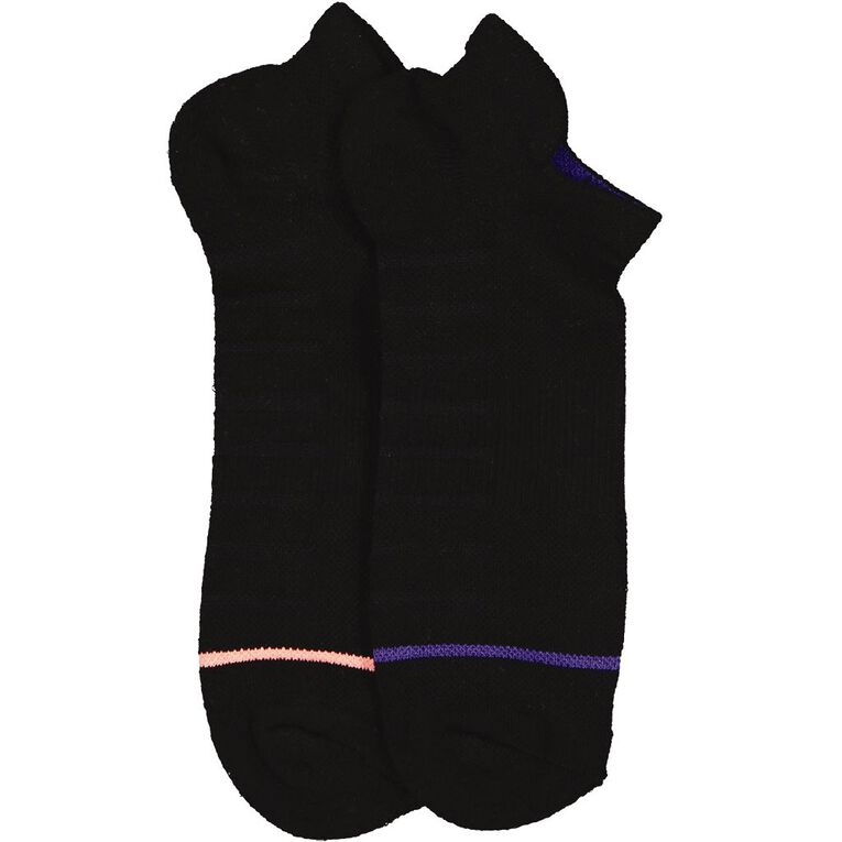 Underworks Women's Fitness Low Cut Sport Socks 2 Pack, Black, hi-res