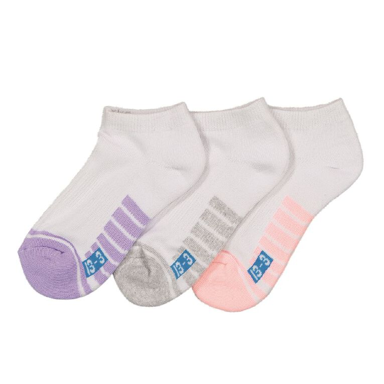 Underworks Kids' Low Cut Sport Socks 3 Pack, White, hi-res