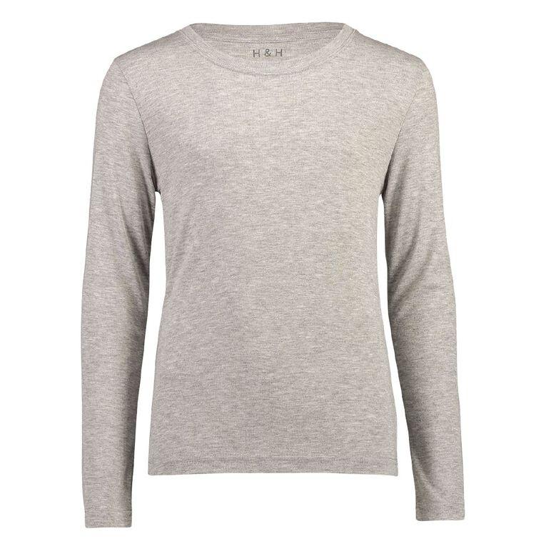 H&H Polyester Viscose Long Sleeve Thermal Top, Grey, hi-res