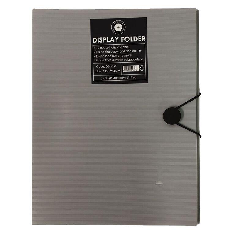 Office Supply Co Display Book 10 Pages Elastic Loop Closure Grey A4, , hi-res