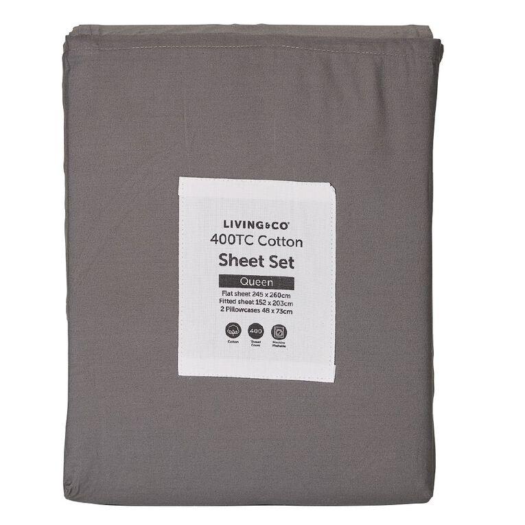 Living & Co Sheet Set Cotton 400 Thread Count Charcoal Super King, Charcoal, hi-res