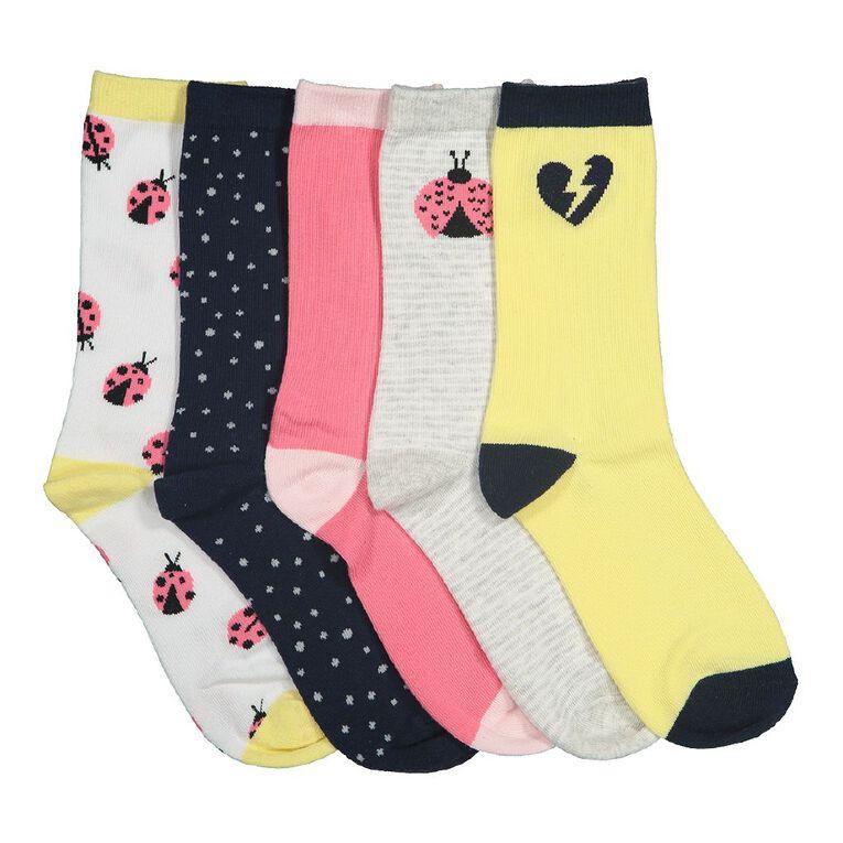 H&H Girls' Jacquard Crew Socks 5 Pack, Yellow, hi-res