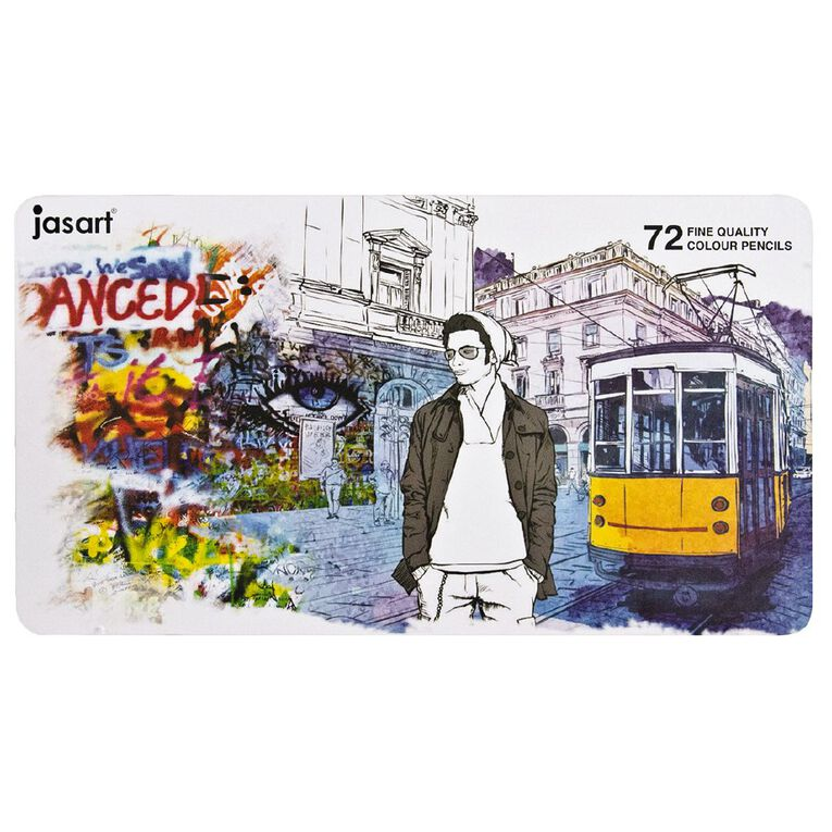 Jasart Coloured Pencil Tin Set 72 Pack, , hi-res image number null