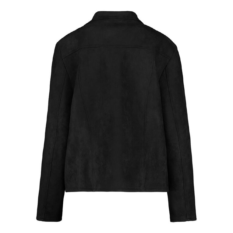 H&H Plus Women's Faux Suede Biker Jacket, Black, hi-res