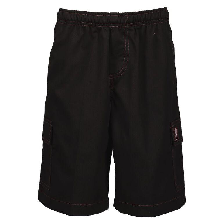 Schooltex Manurewa Intermediate Shorts, Black, hi-res