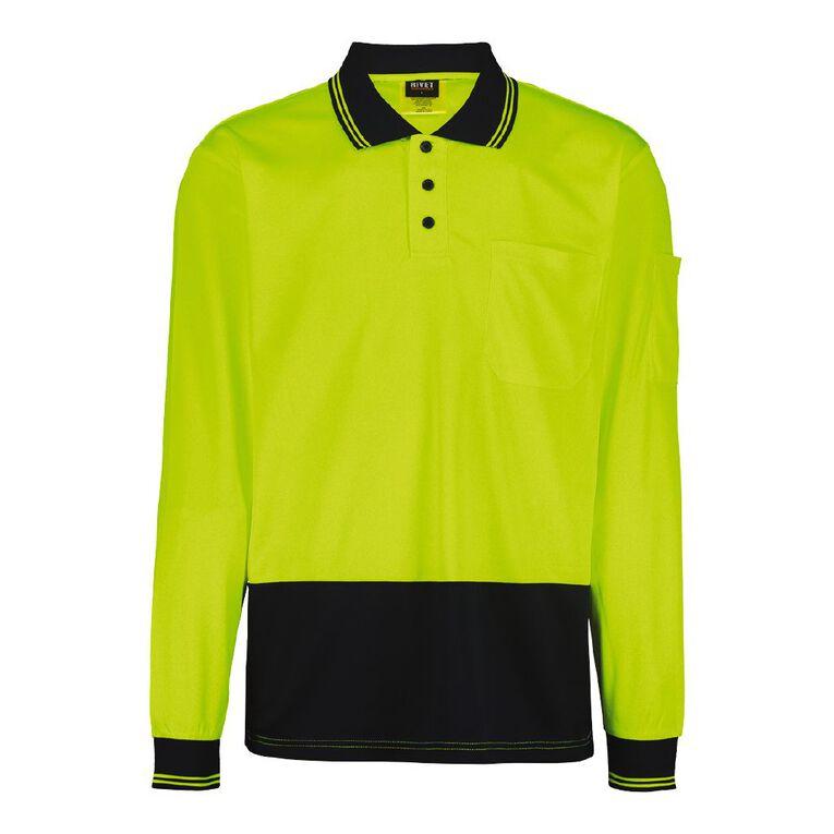 Rivet Long Sleeve Compliant Polo, Yellow, hi-res