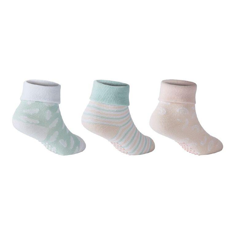 H&H Infant Girls' Turn Top Socks 3 Pack, Green Light, hi-res