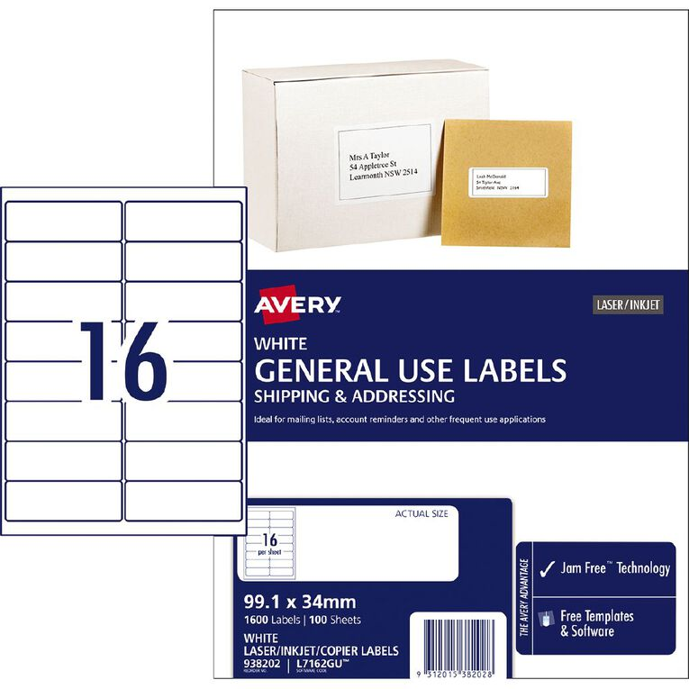 Avery General Use Labels White 1600 Labels, , hi-res