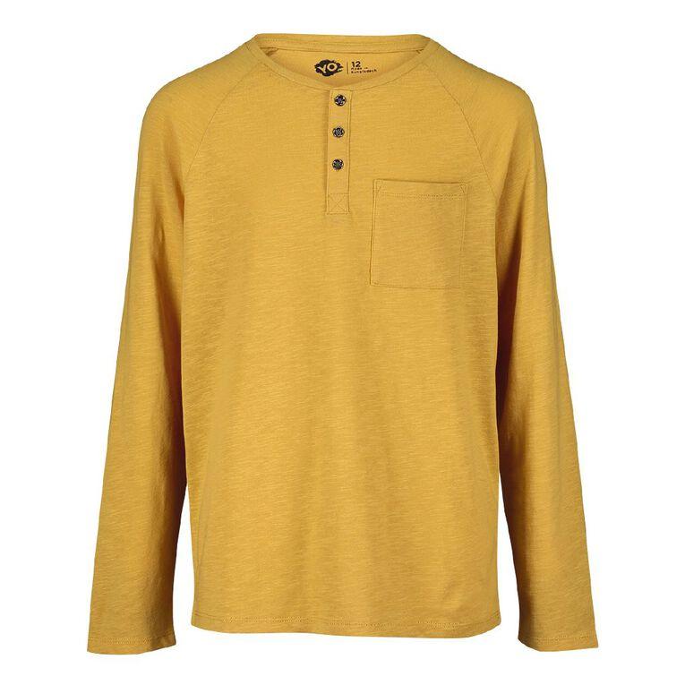 Young Original Long Sleeve Henley Tee, Yellow Dark, hi-res