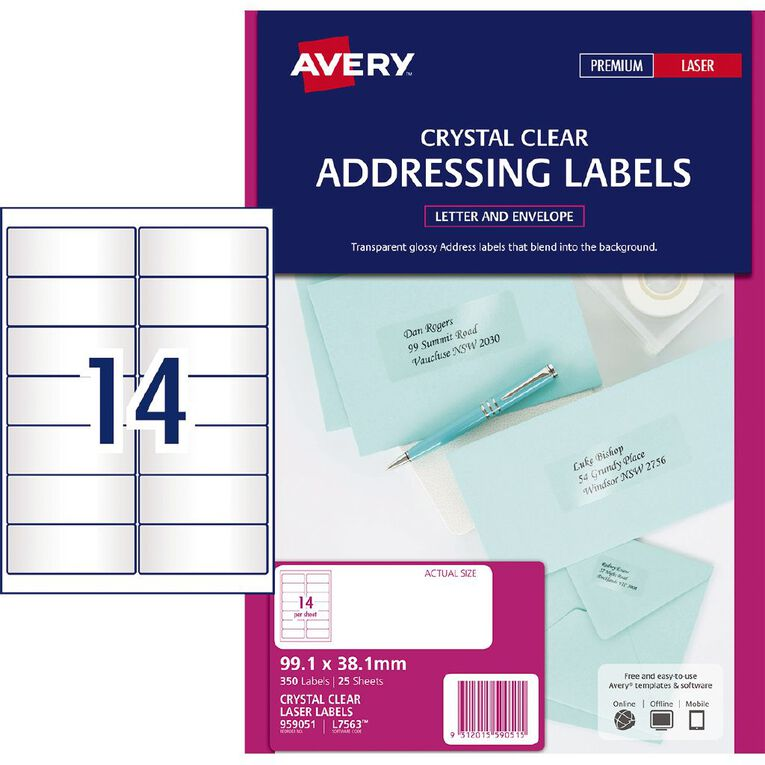 Avery Address Labels Crystal Clear 350 Labels, , hi-res