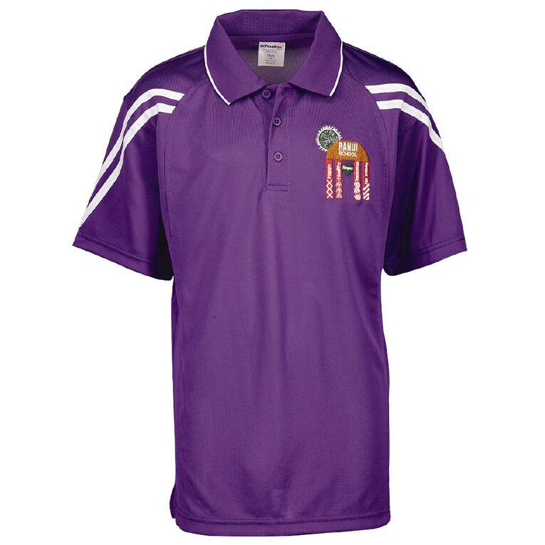 Schooltex Ranui School Force Polo with Embroidery, Purple/White, hi-res