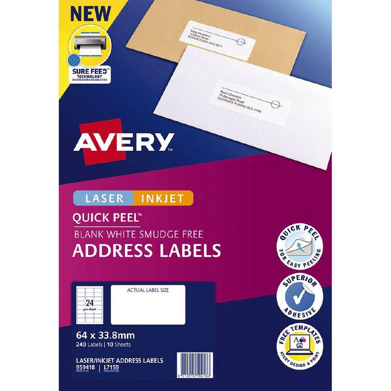 Avery Quick Peel Address Labels Sure Feed Laser & Inkjet Printers, , hi-res