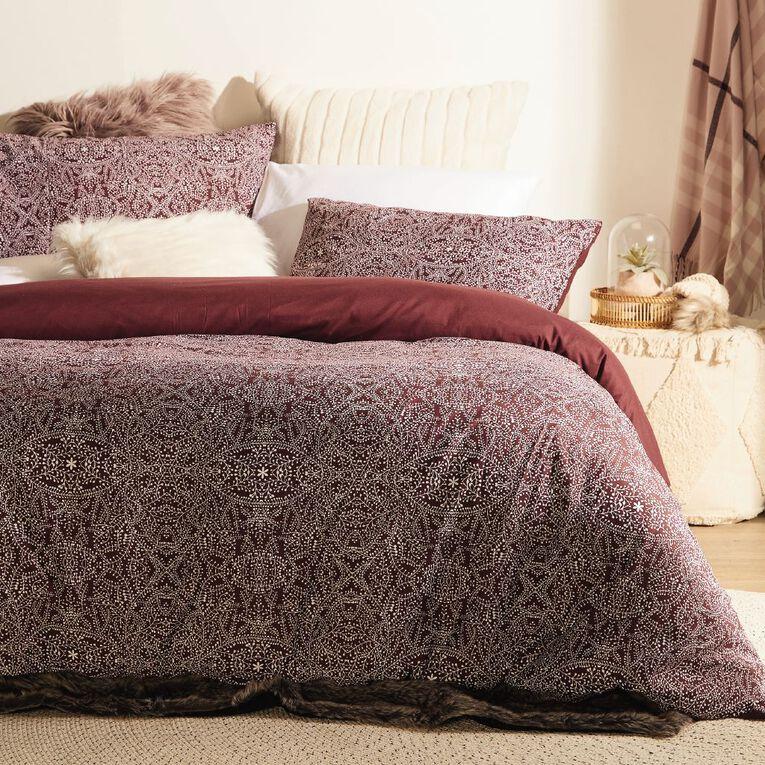 Living & Co Duvet Cover Set Floral Purple Double, Purple, hi-res