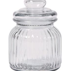 Living & Co Ridge Glass Jar Clear 600ml