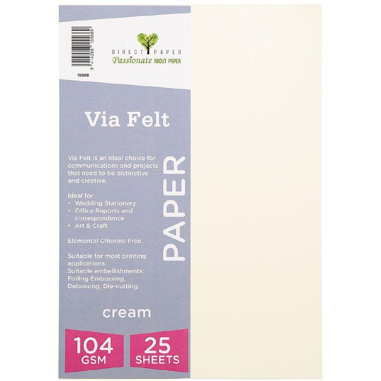 Direct Paper Via Felt 104gsm 25 Pack Cream A4, , hi-res