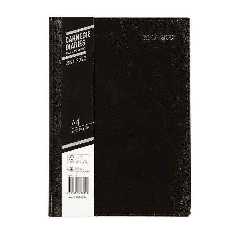 Dats Diary Mid Year 21-22 Week To View Executive PU Black A4, , hi-res