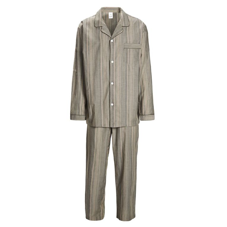 H&H Men's Woven Stripe Pyjama Set, Khaki, hi-res