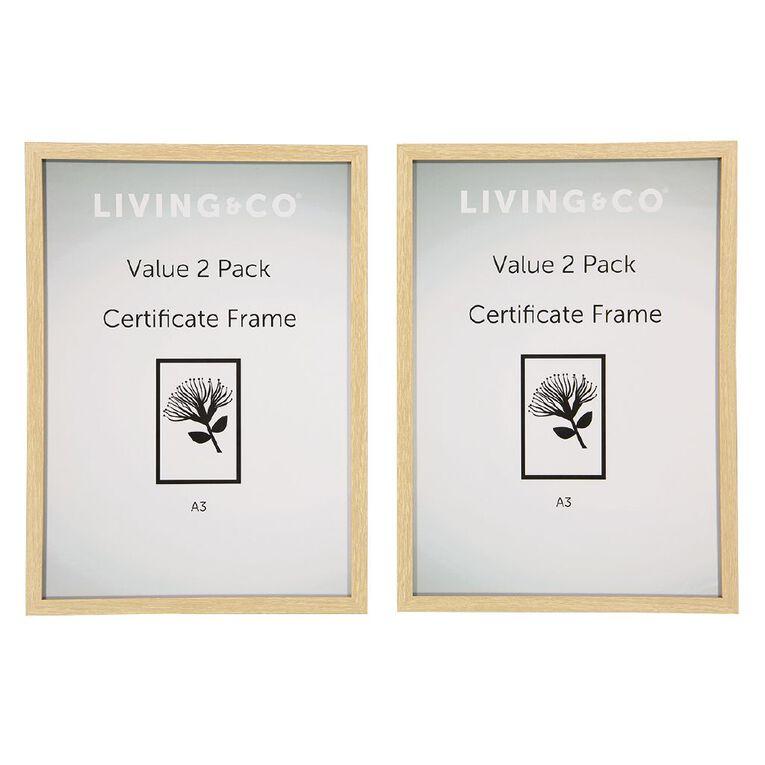 Living & Co Value Certificate Frame 2 Pack Natural A3, , hi-res image number null