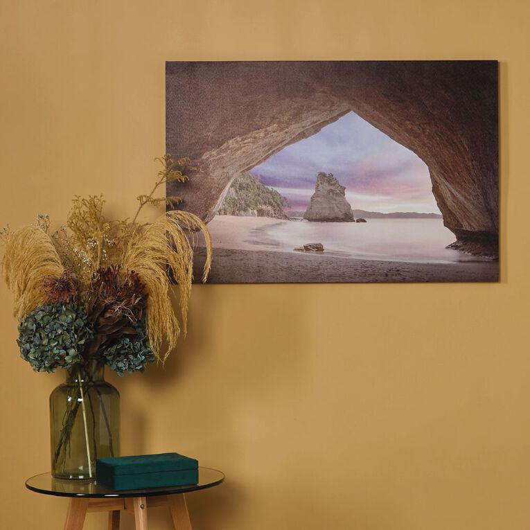 Living & Co Cathedral Cove Sunset Canvas 60 x 90 x 1.8cm, , hi-res
