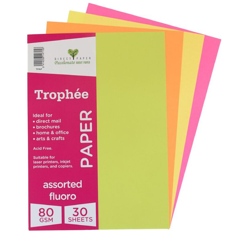 Trophee Paper 80gsm 30 Pack Fluoro Assorted A4, , hi-res