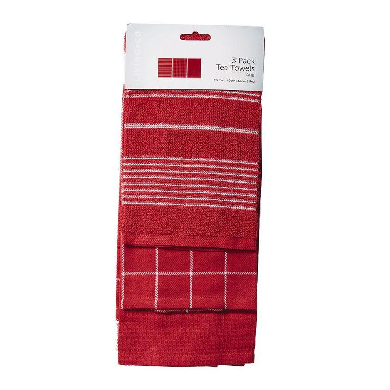 Living & Co Aria Tea Towel Set 3 Pack Red 40cm x 65cm, , hi-res