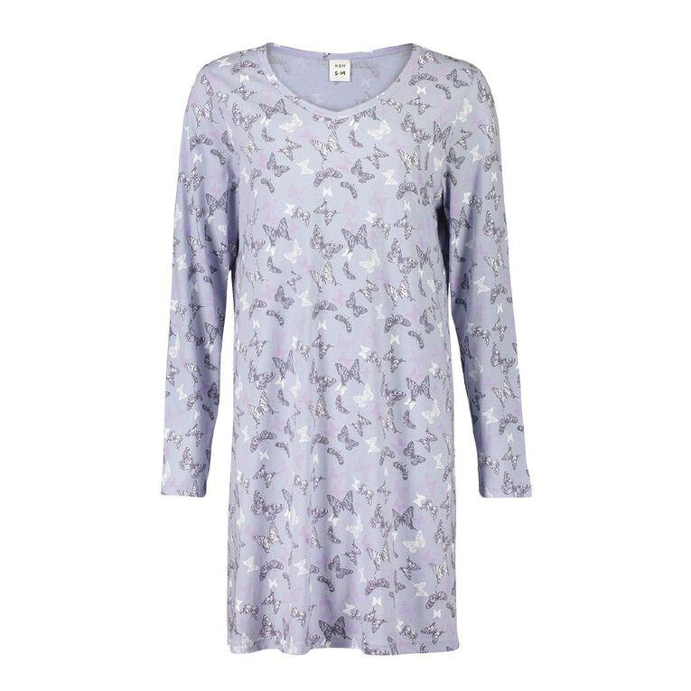 H&H Women's V- Neck Long Sleeves Nightie, Blue, hi-res
