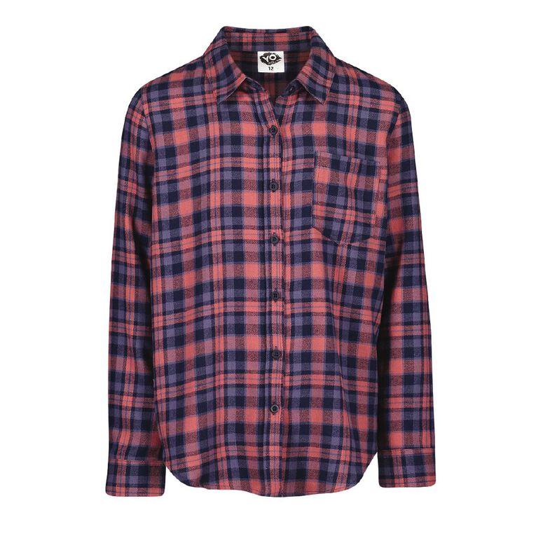Young Original Long Sleeve Check Shirt, Red Mid, hi-res