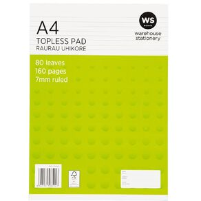 WS Pad Topless 55gsm 7mm 80 Leaf White A4