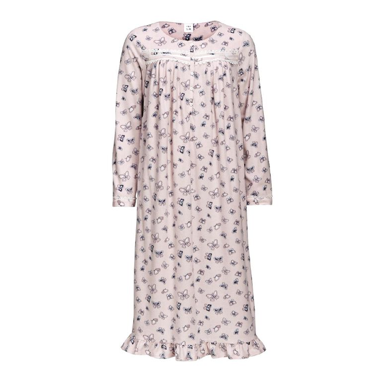 H&H Women's Long Sleeves Fleece Nightie, Pink, hi-res
