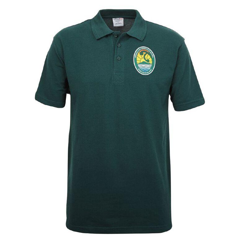Schooltex Birkdale Intermediate Short Sleeve Polo with Transfer, Bottle Green, hi-res