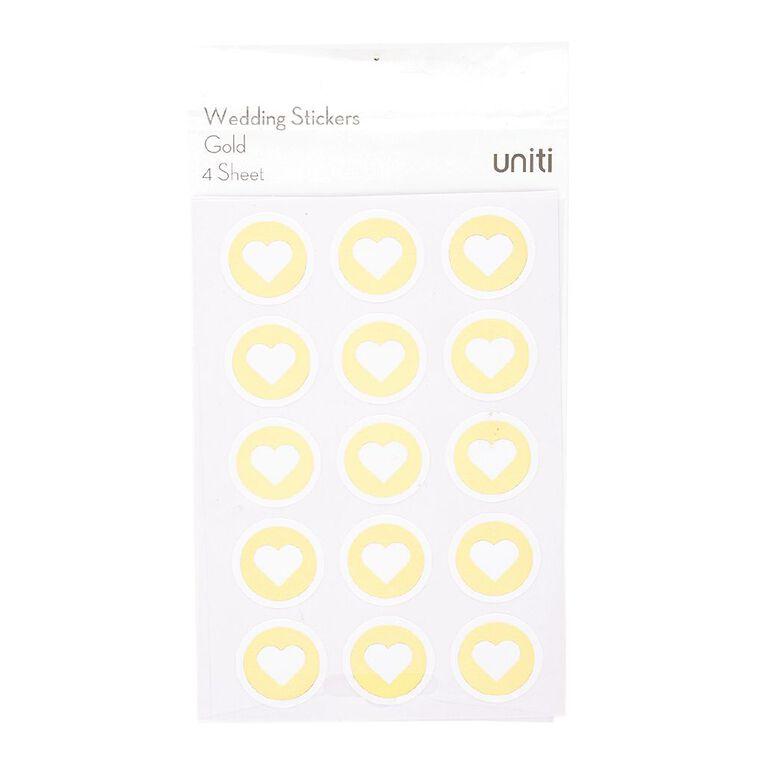 Uniti Wedding Heart Stickers Gold Foil 4 Sheets, , hi-res