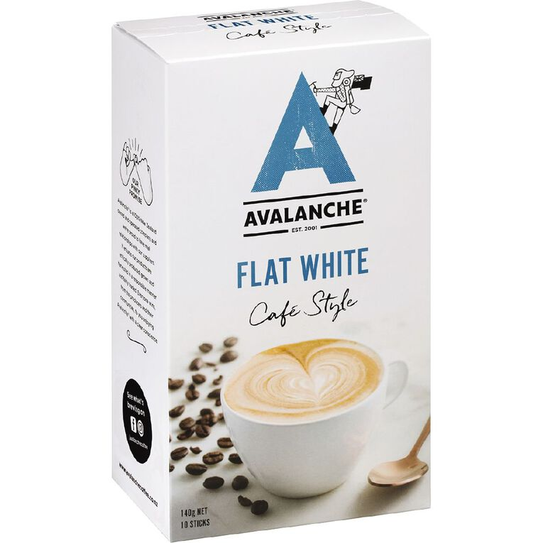 Avalanche Cafe Style Flat White 10 Pack, , hi-res