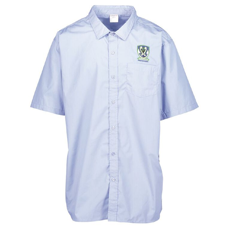 Schooltex Murupara Area Short Sleeve Shirt with Embroidery, Blue, hi-res