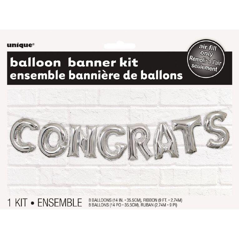 Unique Congrats Balloon Banner Kit Foil 35.5cm (h) Silver, , hi-res