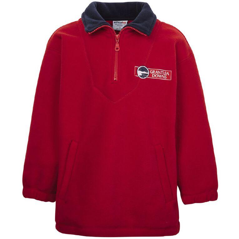 Schooltex Grantlea Downs Polar Fleece Top with Embroidery, Red/Navy, hi-res