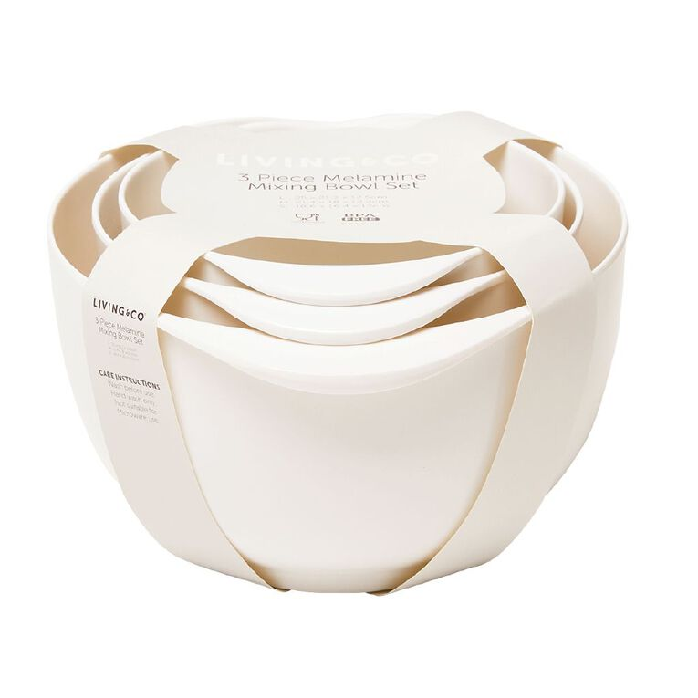 Living & Co Mixing Bowl with Pourer Set White 3 Piece, , hi-res