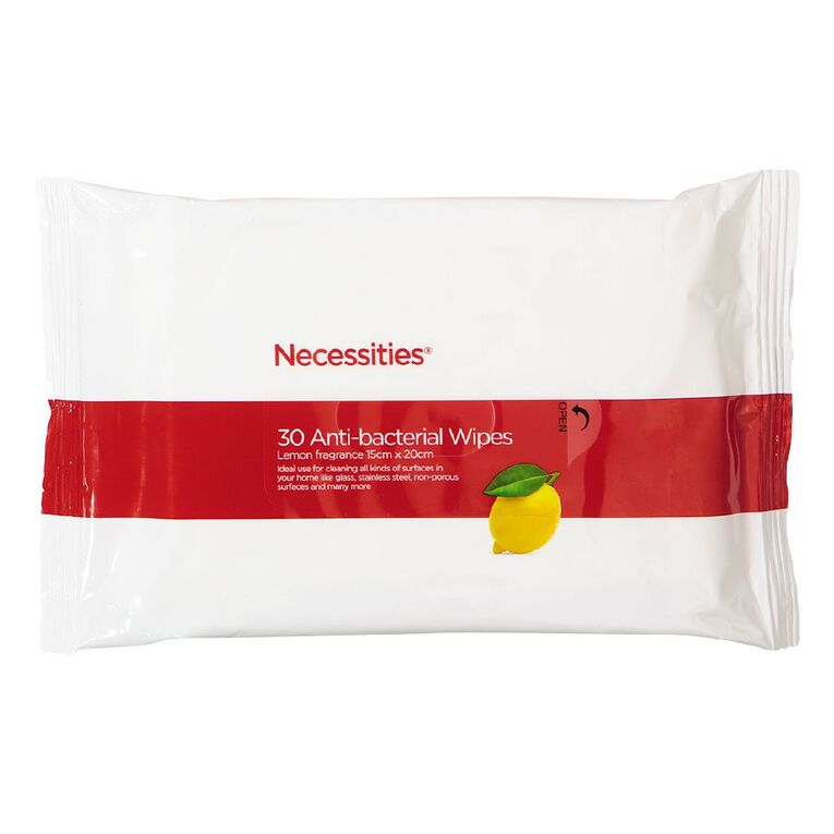 Necessities Brand Anti Bacterial Wipes 30s, , hi-res